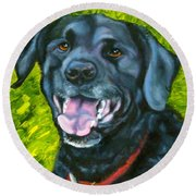 Smiling Lab Round Beach Towel