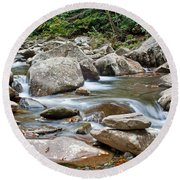 Smoky Mountain Streams Round Beach Towel