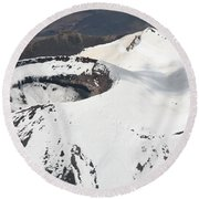 Snow-covered Ngauruhoe Cone, Mount Round Beach Towel