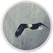 Round Beach Towel featuring the photograph Snow Flight by Myrna Bradshaw