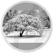 Snow In Connecticut Round Beach Towel