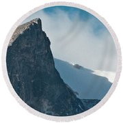 Snowy Flatirons Round Beach Towel by Colleen Coccia