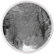 Round Beach Towel featuring the photograph Snowy Path by Linsey Williams