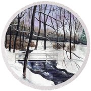 Snowy Shawnee Stream Round Beach Towel
