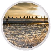Snowy Sunrise Round Beach Towel
