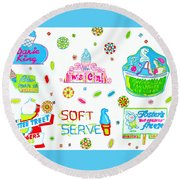 Round Beach Towel featuring the painting Soft Serve by Beth Saffer