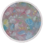 Round Beach Towel featuring the painting Softly Spoken by Judith Rhue