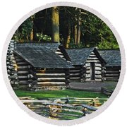 Round Beach Towel featuring the photograph Soldiers Quarters At Valley Forge by Cindy Manero