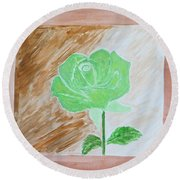 Round Beach Towel featuring the painting Solitary Rose by Sonali Gangane