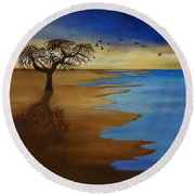 Round Beach Towel featuring the painting Solitude by Michelle Joseph-Long