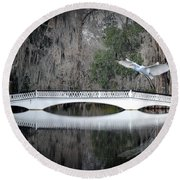 Round Beach Towel featuring the photograph Southern Plantation Flying Egret by Dan Friend