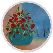 Round Beach Towel featuring the painting Southwestern 1 by Judith Rhue
