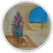 Round Beach Towel featuring the painting Southwestern 3 by Judith Rhue