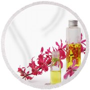 Round Beach Towel featuring the photograph Spa Set With Copy Space by Atiketta Sangasaeng