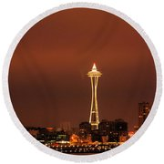 Space Needle Morning Round Beach Towel
