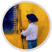 Spanish Man At The Yellow Wall. Impressionism Round Beach Towel