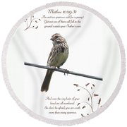 Sparrow Round Beach Towel by Lena Auxier