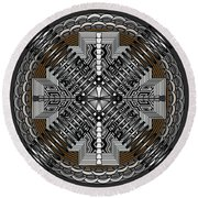 Round Beach Towel featuring the digital art Spectral Formations by Mario Carini
