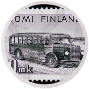 Round Beach Towel featuring the photograph Speedy Old Bus by Andy Prendy