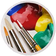 Spilt Paint And Brushes  Round Beach Towel