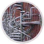 Spiral Staircase With Snow And Cooper's Hawk Round Beach Towel