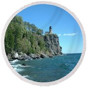 Round Beach Towel featuring the photograph Split Rock by Bonfire Photography