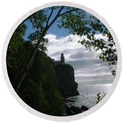 Round Beach Towel featuring the photograph Split Rock II by Bonfire Photography