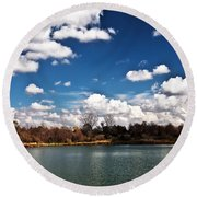 Spring Clouds Round Beach Towel
