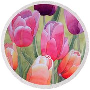 Round Beach Towel featuring the painting Spring by Laurel Best