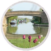 Spring On The Oxford Canal Round Beach Towel