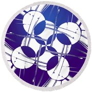 Square Circles Round Beach Towel