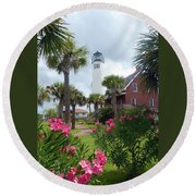 St. George Island Lighthouse Round Beach Towel