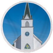 Round Beach Towel featuring the photograph St. John The Evangelist Catholic Church by Fran Riley