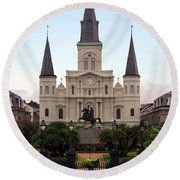 St Louis Cathedral On Jackson Square In The French Quarter New Orleans Round Beach Towel