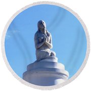 Round Beach Towel featuring the photograph St. Louis Cemetery Statue 1 by Alys Caviness-Gober