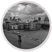 St Paul's And The City Panorama Bw Round Beach Towel