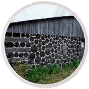 Round Beach Towel featuring the photograph Stacked Block Barn by Barbara McMahon