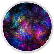 Stain Glass Fractal Abstract Round Beach Towel
