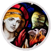 Round Beach Towel featuring the photograph Stained Glass Angel by Verena Matthew