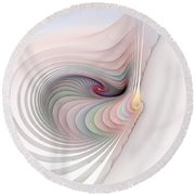 Round Beach Towel featuring the digital art Stairs To Where by Richard Ortolano