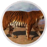 Stalking Tiger Round Beach Towel by Rosa Bonheur