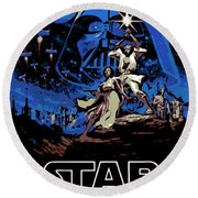 Star Wars Poster Round Beach Towel by George Pedro