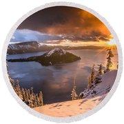 Starburst Sunrise At Crater Lake Round Beach Towel