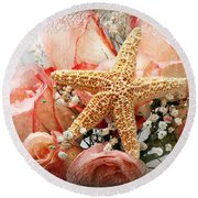 Starfish And Pink Roses Round Beach Towel by Andee Design