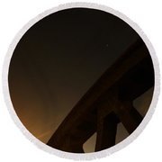 Round Beach Towel featuring the photograph Starry Night On Sunset Bridge by Andy Prendy