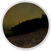 Stars Over Otter Cliffs Round Beach Towel by Brent L Ander