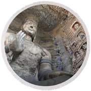 Statue And Carvings In Ancient Buddhist Round Beach Towel