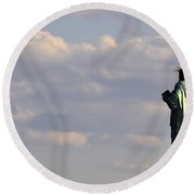Statue Of Liberty Round Beach Towel by Zawhaus Photography