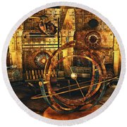 Steampunk Time Lab Round Beach Towel