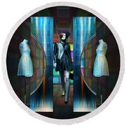 Round Beach Towel featuring the digital art Steel Eyes Mannequin by Rosa Cobos